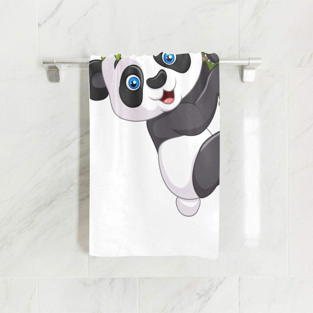 Chinois Panda Manger Bambou Doux Spa Plage Serviette De Bain Du Doigt Serviette De Toilette D/ébarbouillette Pour B/éb/é Adulte Salle De Bains Douche De Plage Wrap H/ôtel Voyage Gym Sport 30x15 Pouce