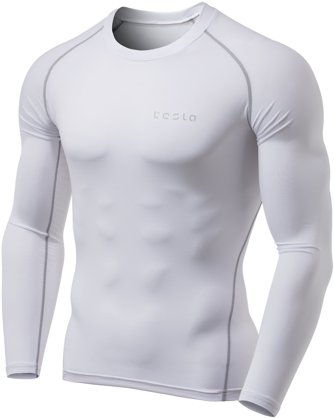 TSLA Men's Thermal Wintergear Compression Baselayer Long Sleeve Top, Thermal Athletic(yud34) - White, Small by TSLA