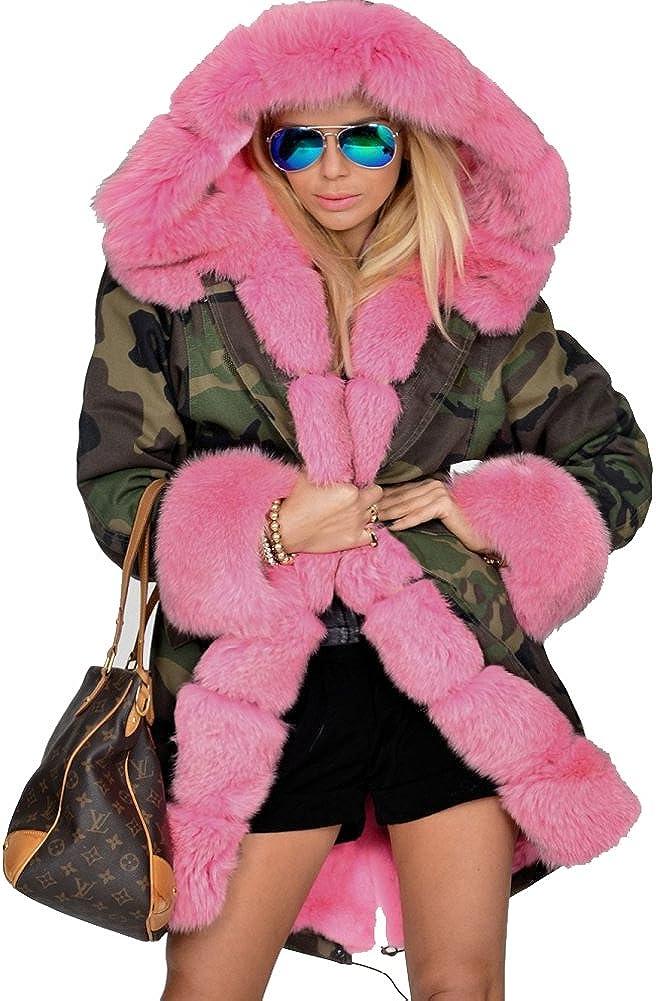 Luxury Womens Long Warm Thick Pink Faux Fur Jacket Crewneck Loose Parka Coat