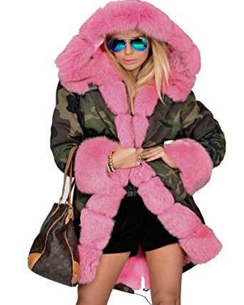 0d7789c6a Roiii Women Thicken Warm Winter Coat Hood Parka Overcoat Long Jacket  Outwear (S, Pink
