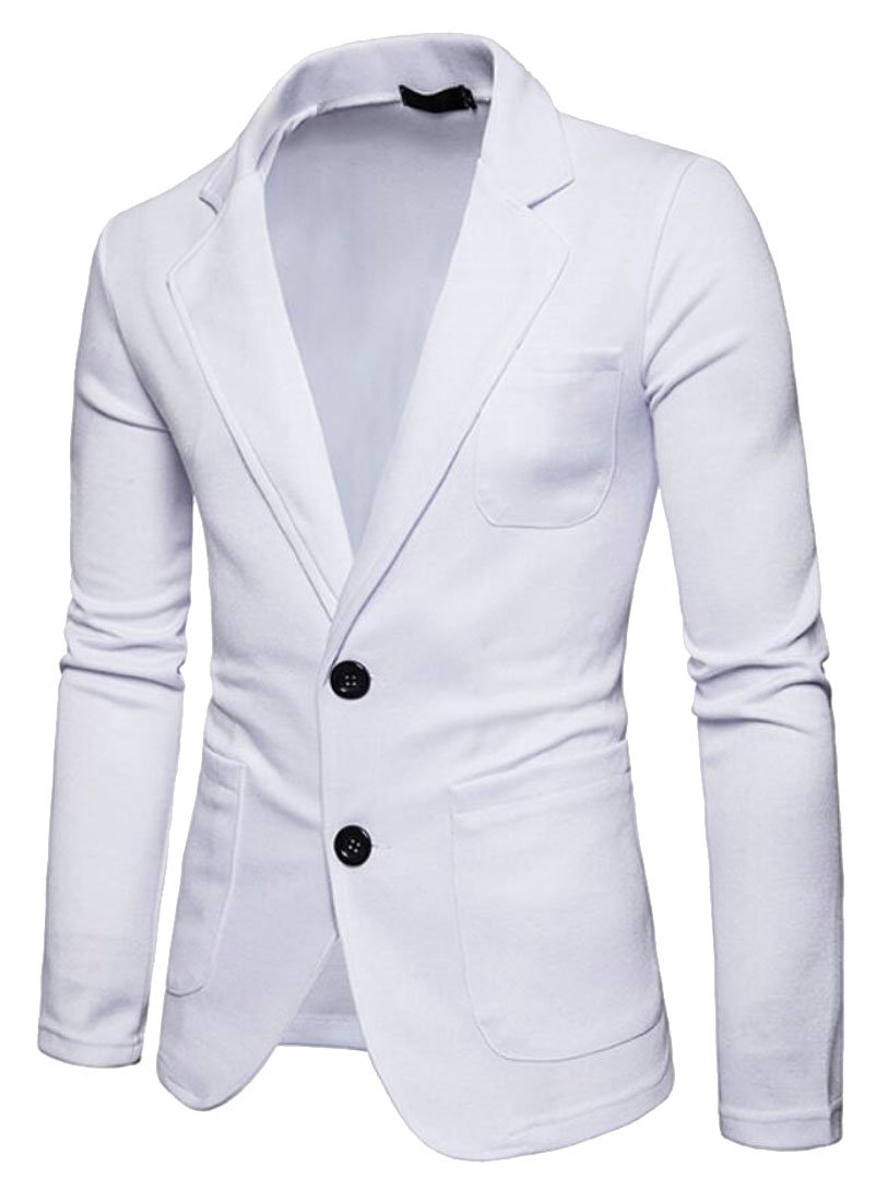 Domple Men's Business 2-Button Solid Color Slim Fit Suit Blazer Jackets Coat
