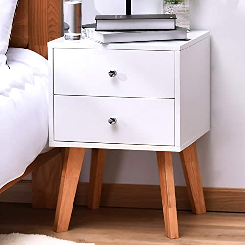 TaoHFE White Nightstand Bedroom Night Stand End Table Side Table Coffee Table with 2 Drawers, Wood Nightstand for Bedroom Living Room Study Room End Tables Set of 1, Easy Assembly