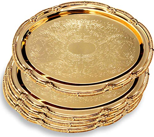 Maro Megastore (Pack of 4) 14.8-Inch x 10.6-Inch Oval Iron Gold Plated Serving Tray Edge Floral Engraved Decorative Wedding Birthday Dessert Cake Snack Wine Candle Serving Platter Plate 125 Ts-161