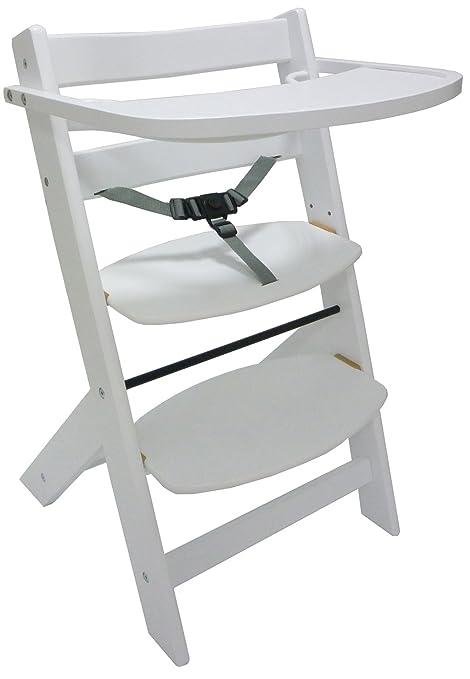 STOKKE - Trona/taburete/silla de madera, altura regulable, blanca ...