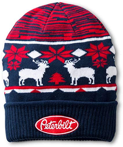 Peterbilt Motors Trucks Black Embroidered Knit Winter Beanie Cap