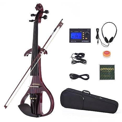 ammoon Violino Elettrico VE-209 Formato Completo 4 4 Legno Massiccio  Silenzioso Corpo di 051d0fb3e3ef