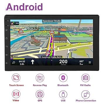 Hakeeta 7pulgadas WiFi Dual DIN Radio Reproductor Estéreo de Coche Multimedia Bluetooth4.0 con Antena GPS para Android 8.1, 2Din MP5 Reproductor con ...