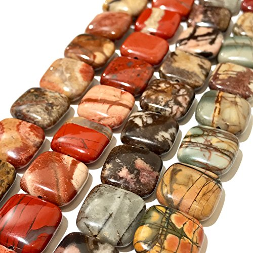 [ABCgems] Outback Jasper, Bird's Eye Rhyolite, Red Creek Jasper (Picasso Jasper), White Lace Red Jasper (4 Strands Lot) 14mm Square Beads. Each Strand 8