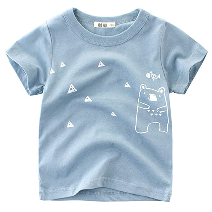 c267d59c2 HUHUXXYY Kid Boys Girls Summer Short Sleeve Cartoon Print Cotton T-Shirt  Casual Tops: Amazon.ca: Clothing & Accessories