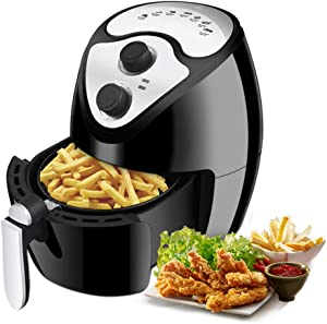 Hlidpu Power Air Fryer Oven, 2.5 Quart Oven Fryer with Simple Knob Controls Timer Nonstick Pot and Basket BPA-Free 7 Presets Wattage Control Recipes Book for Singles or Couples,1300W, ETL Listed