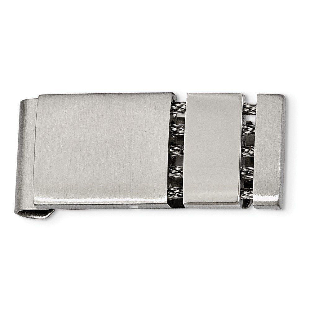 18mm x 42mm Jewel Tie Stainless Steel Brushed and Polished Money Clip