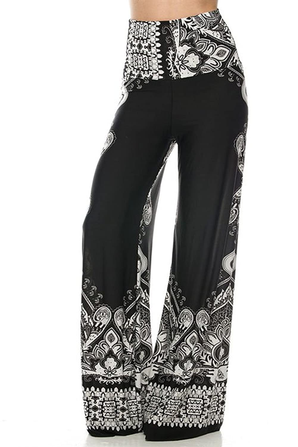 Lovely Pair Inc Women Printed Boho Palazzo Blk/Wh