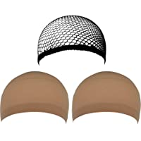 eBoot 3 Pack Wig Caps (Neutral Nude Beige and Black Mesh)