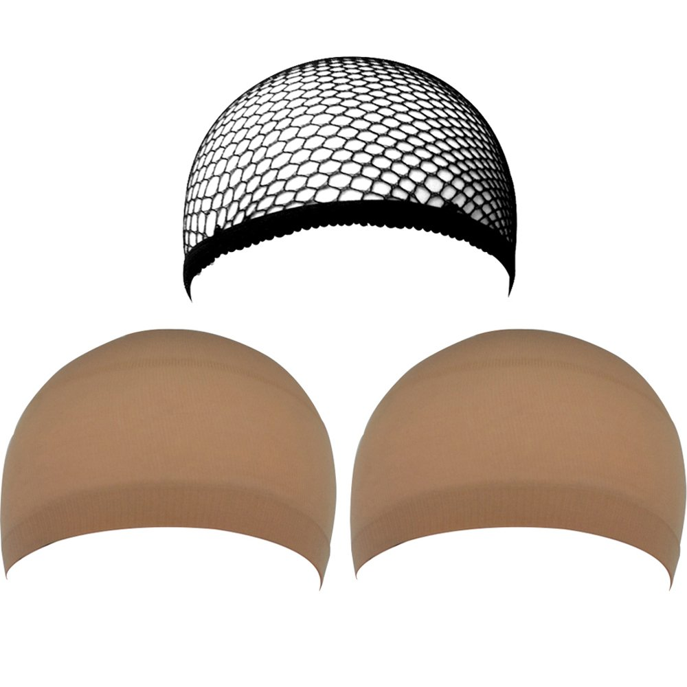eBoot 3 Pack Wig Caps, Neutral Nude Beige and Black Mesh