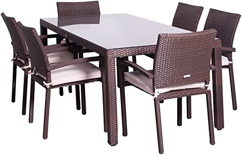 Atlantic Patio Amazonia Atlantic Liberty 7-Piece Patio Dining Table Set Wicker | Ideal