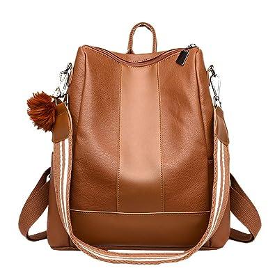 0c8a67cafe LANDONA sac étudiant femme sac à dos pour femmes fille dames en cuir noir  PU balle