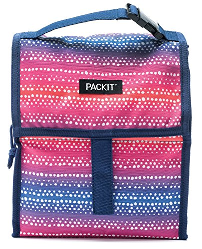 10' High Wall (PackIt 10 inch 10 hour Freezable Foldable Reusable Multipal Uses Lunch Bag with Adjustable Strap (Purple Batik Ombre))