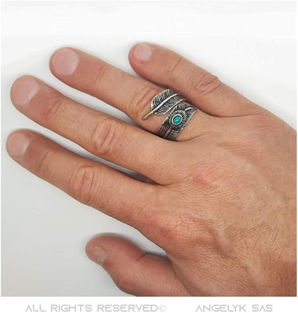 BOBIJOO Jewelry Bague Chevali/ère Homme Femme Plume Indien US 20mm Turquoise Acier 316L INOX Biker Triker