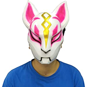 ZY Fortnite Costume Latex Mask Fox Drift Mask