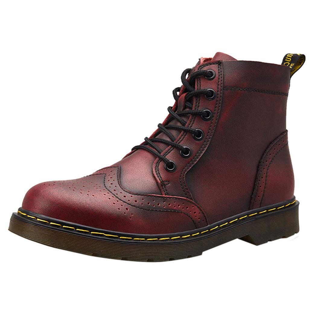 Fashion Men' s Retro Low-Heeled Shoes Round Head Non-Slip Lace-Up Casual Thick-Bottomed high-Cut Tooling Boots