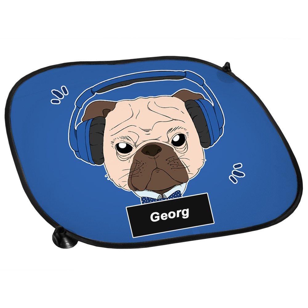 Auto-Blendschutz Auto-Sonnenschutz mit Namen Georg und Mops-Motiv mit blauem Kopfh/örer f/ür Jungen Sichtschutz Sonnenblende