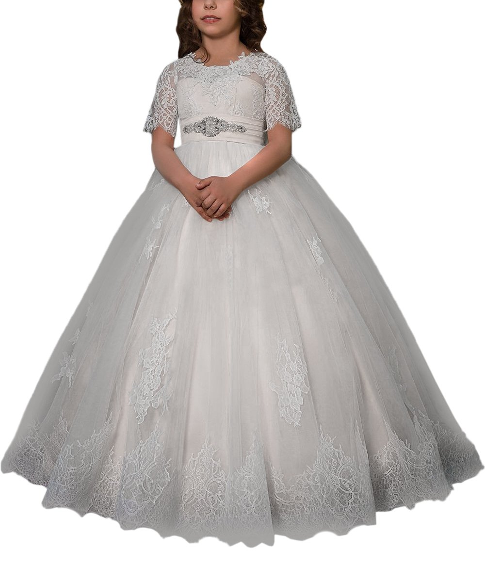 Amazon.com: WDE Long Lace First Communion Baptism Dresses for Flower Girls with Sleeves Ball Gown for Wedding: Clothing