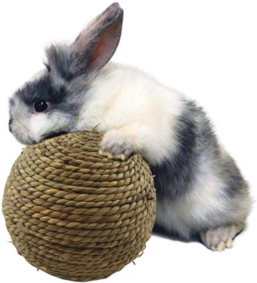 rosemaryrose Gatto Erba Coniglio Palla Giocattoli in Palissandro Interruttore di noia per Coniglio Piccolo Animale Domestico Giocattolo da Masticare Palla in Erba Naturale per Denti-Pulizia