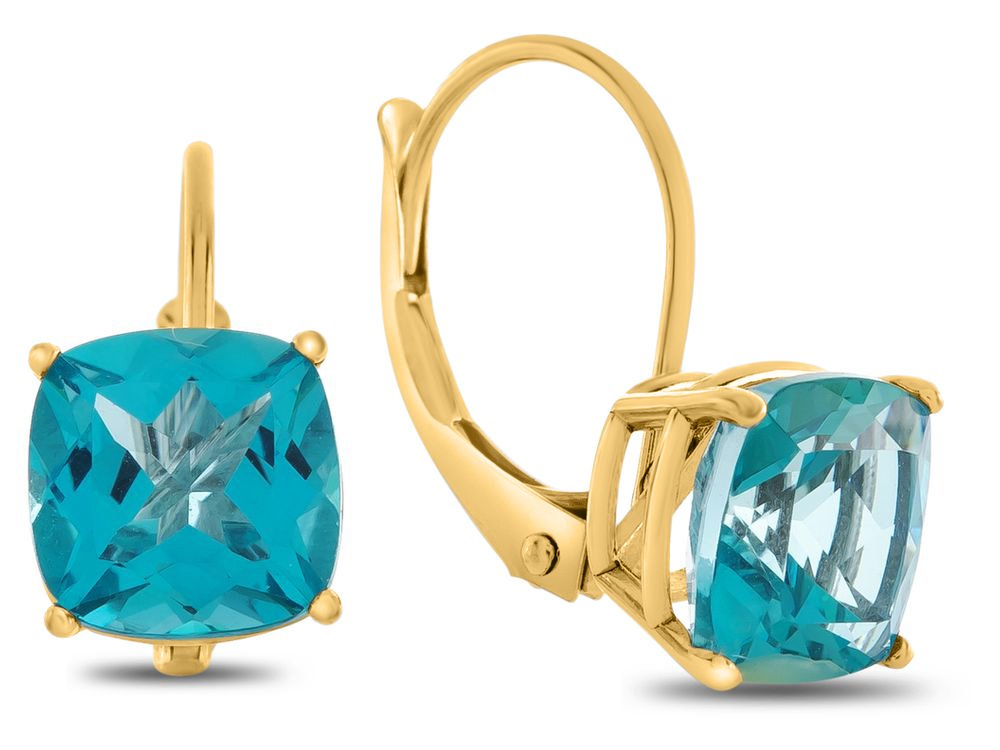 Finejewelers 7x7mm Cushion Coated Paraiba Topaz Lever-back Earrings 10 kt Yellow Gold