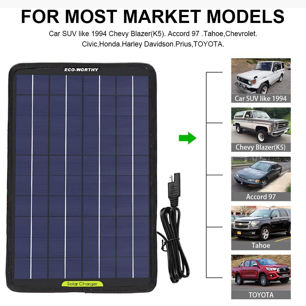 Eco Worthy Tragbares Akku Ladegerät Mit Solarmodul 12 V 10 Watt Backup Für Auto Boot Mit Krokodilklemm Adapter Gewerbe Industrie Wissenschaft