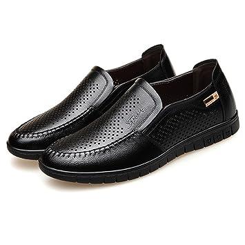 Zapatos De Cuero Genuino De Los Hombres De Verano Sandalias De Negocios Hueco Hueco Hueco Transpirable Zapatos Zapatos De Barco Mocasines: Amazon.es: ...