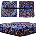 Third Eye Export - Indian Mandala Floor Pillow Square Ottoman Pouf Daybed Oversized Cushion Cover Cotton Seating Ottoman Poufs Dog/Pets Bed (Blue)