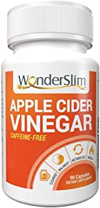 WonderSlim Apple Cider Vinegar Capsules - ACV Pills for Women & Men with Clinically Studied Capsimax Capaicin from Cayenne Pepper, GreenSelect Green Tea Extract ECGC, Crominex 3+ Chromium - 90 Count