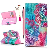 Moto X Play Case- MOLLYCOOCLE® [Color Totem Flower]Stand Wallet Purse Credit Card ID Holders Magnetic Design Flip Folio TPU Soft Bumper PU Leather Ultra Slim Fit Cover for Motorola Moto X Play