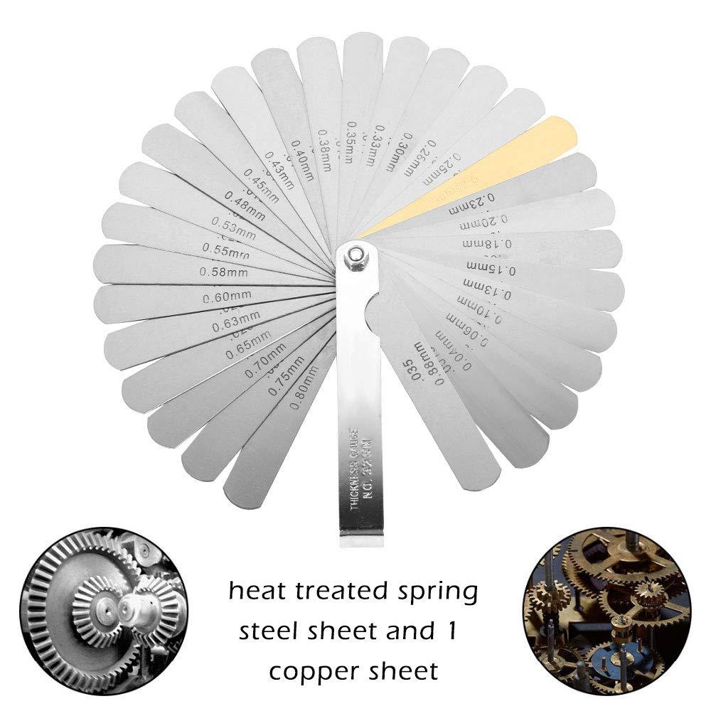 Jauge d/épaisseur 32 lames marquage m/étrique jeu de cales d/épaisseur mm outil pour Mesure Largeur /Épaisseur tailles Mesure d/épaisseur 0.04-0.88 mm