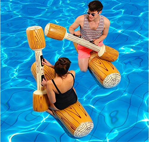 LLN Inflatable Water Sport Bumper Toys Portable Float Pool Saddle Y Fight Hammer con Bomba para Niños Y Adultos