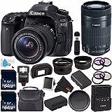 Canon EOS 80D DSLR Camera with 18-55mm Lens 1263C005 (International Version) + Canon EF-S 55-250mm Lens + 64GB SDXC Card + LP-E17 Replacement Lithium Ion Battery + External Flash Bundle