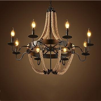 Modeen Lámparas Lámpara de techo colgante de cuerda de ...