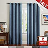 Cheap Flax Linen Cotton Curtain Panels for Bedroom Blue Burlap Textured Room Darkening Living Room Window Drapes 63 Inches Length 2 Panels