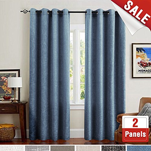 Raw Burlap Linen Textured Curtains for Bedroom 95 inches Length Room Darkening Flax Window Drapers for Living Room Blue (Raw Linen)