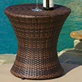 Grayling Wicker Side Table, Brown by Beachcrest Home