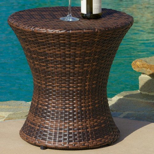 Grayling Wicker Side Table, Brown by Beachcrest Home by Generic