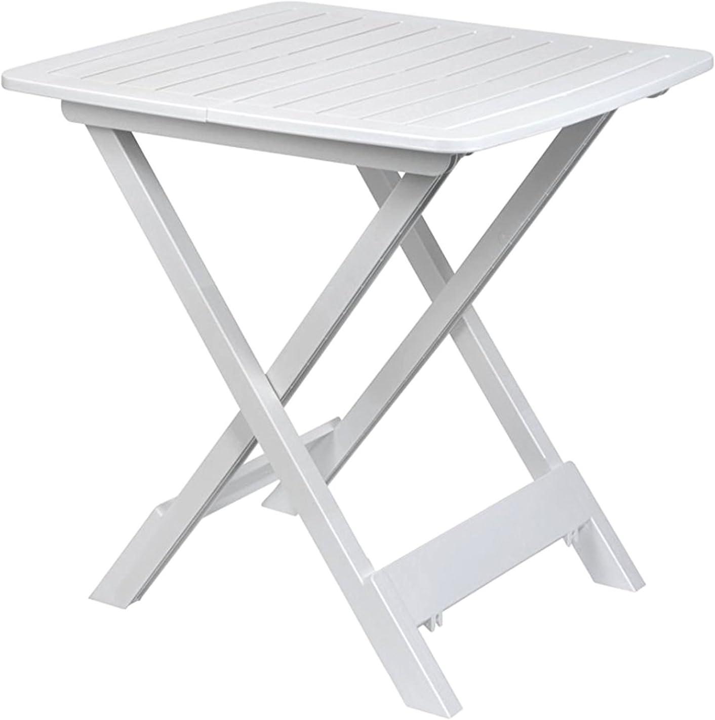 FineHome Mesa de camping plegable para jardín, mesa auxiliar, mesa auxiliar de viaje, mesa de plástico en color blanco, 80 x 72 x 70 cm