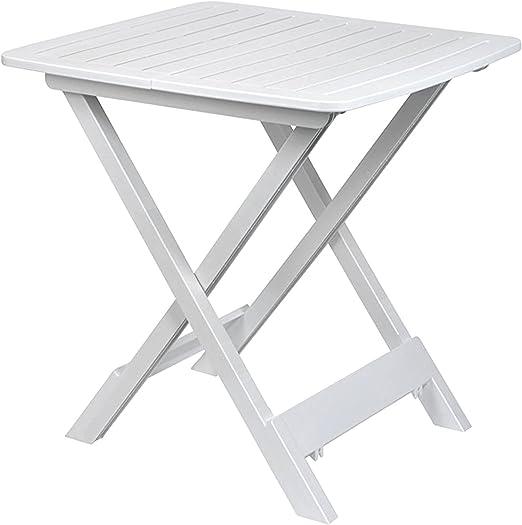 FineHome - Mesa plegable para camping, mesa de jardín, mesa auxiliar, mesa de viaje, plástico, color blanco, 80 x 72 x 70 cm: Amazon.es: Jardín