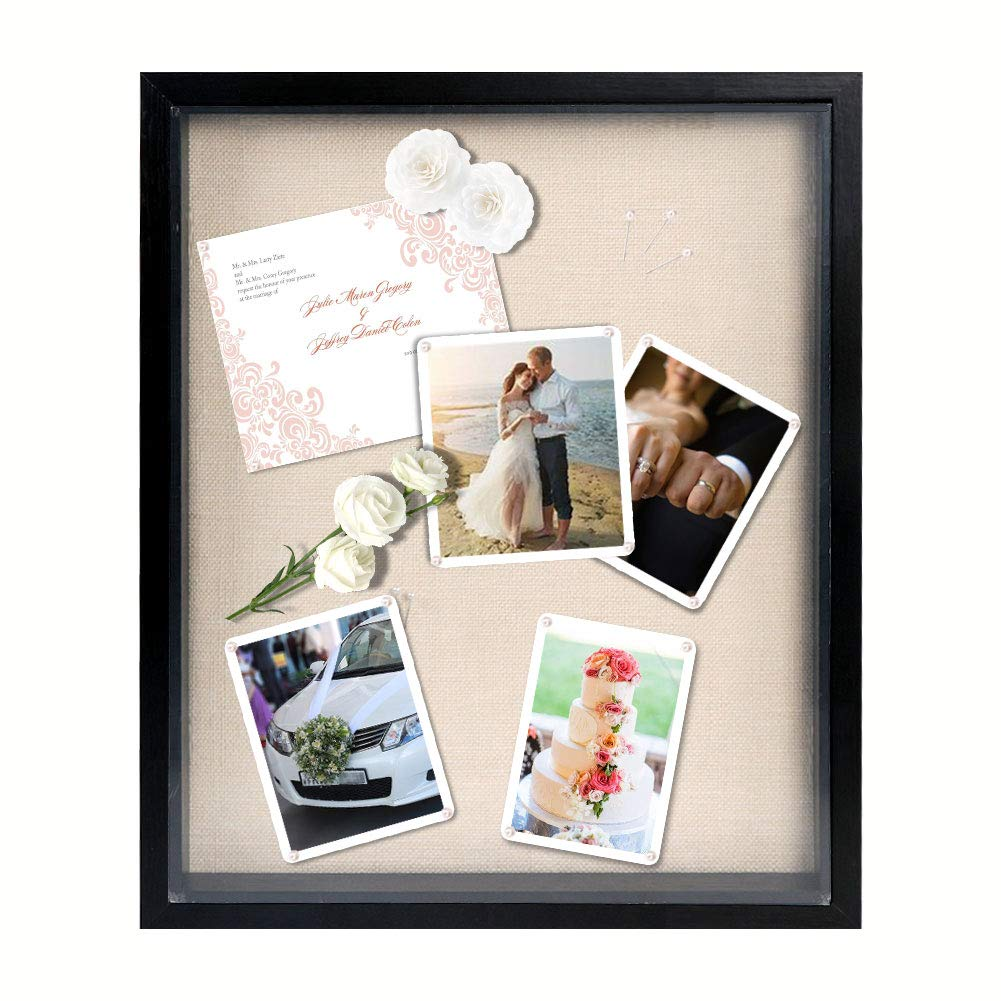 PartyTalk 13'' x 16'' Display Shadow Box Frame Black Shadow Box Display Case with Linen Background and 15 Stick Pins for Wedding Baby Sports Memorabilia Keepsake Medal Award Ticket Art and Photo by OurWarm