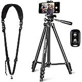 "UBeesize Bundle 51"" Adjustable Travel Video Phone Tripod Stand & Camera Neck Shoulder Sling Strap, Compatible with Smartphone & Camera."