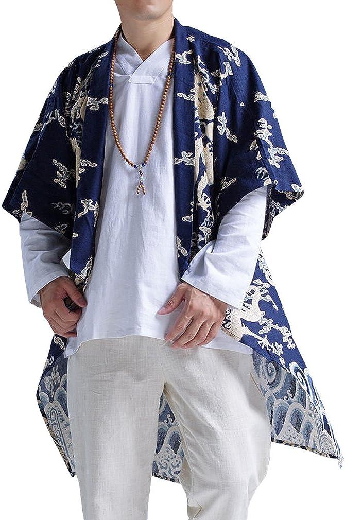 Honghu Mens Slim Chinese Art Embroidery Loose Dragon Long-Style Linen Cardigan Shirt