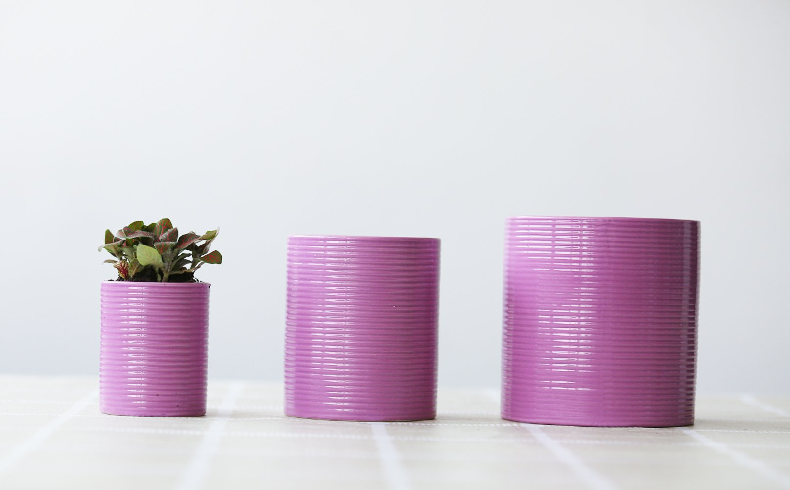 Better-way Modern Ceramic Orchid Planter Wave Design Plant Flower Container Pot (5inch, Light Purple)