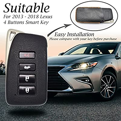 Vitodeco 4 Buttons Leather Keyless Entry Remote Control Smart Key Case Cover with a Key Chain for Lexus (Red): Automotive