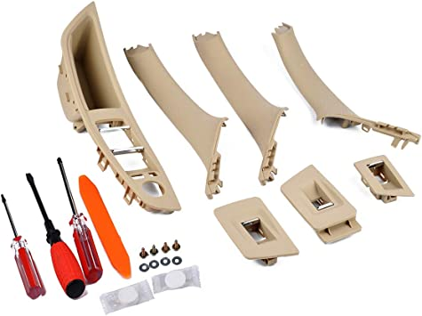 Window Switch Panel /& Inner Door Panel Handle Pull Trim Cover Set for 2010-2016 BMW 5 Series 520 523 525 528 530 535 F10 F11 F18 Beige Replaces 51417225875