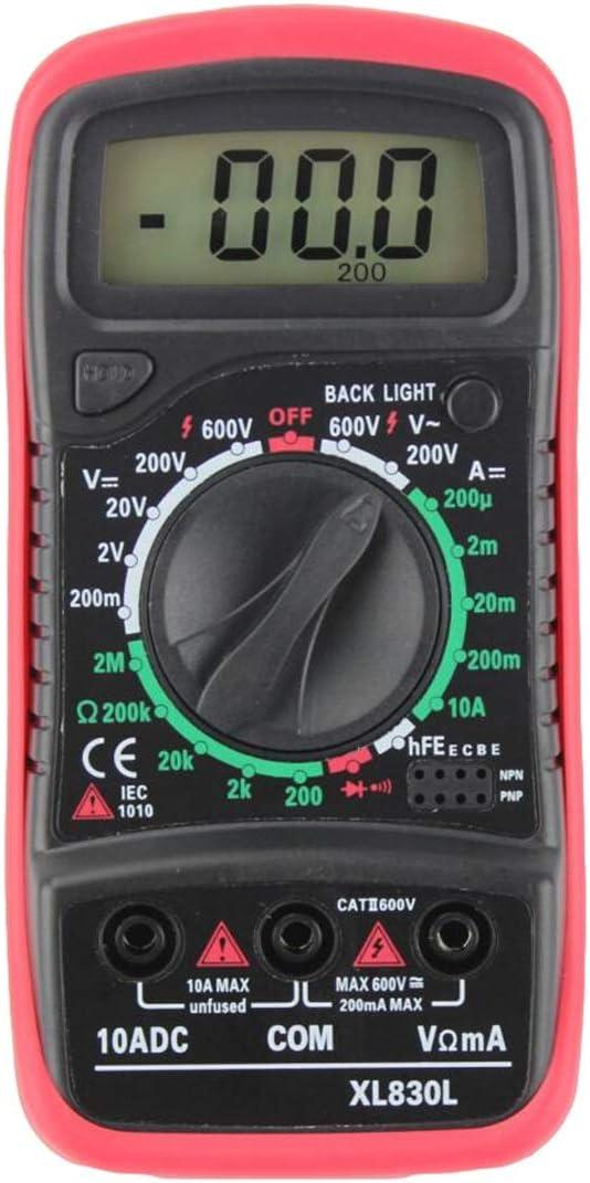 Topsale-ycld XL830L Multimetro Retroilluminazione Multimetro Digitale LCD Voltmetro Amperometro AC DC Ohm Volt Tester Corrente di Prova Color : Red